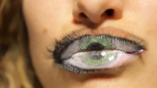 """A mouth converted in an eye symbolizing MK slaves """"silenced"""" by the Illuminati system."""